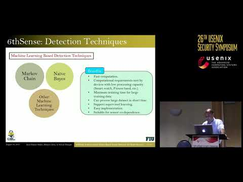 USENIX Security '17 - 6thSense: A Context-aware Sensor-based Attack Detector for Smart Devices