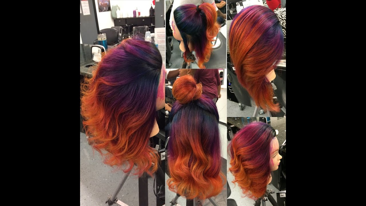 Ombre Balayage Bright Fashion Rainbow Colors Blue Purple