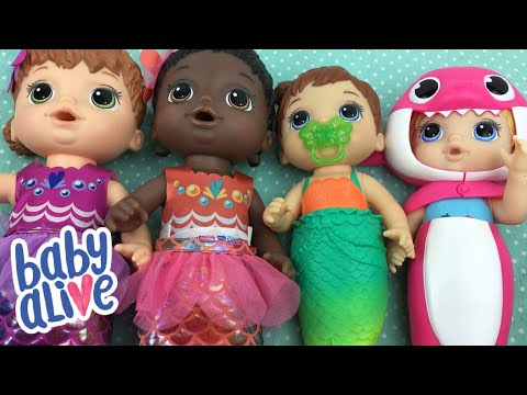 Comparing Baby Alive Water Play Dolls Mermaids and Baby Shark