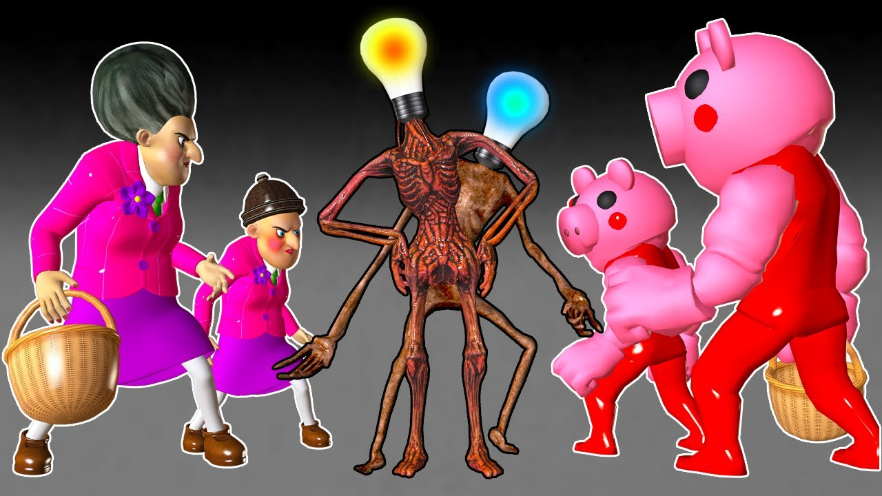 Scary Teacher 3D Ice Scream 3 Riding Large Animal Rescue Miss T and Piggy Leave Traffic Light Head