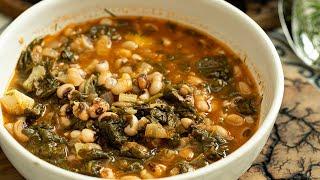 Greek Black eyed Pea & Spinach Stew