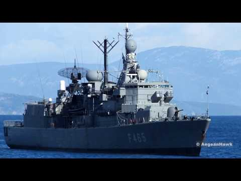 Hellenic Navy Standard class frigate F465 HS Themistoklis near Chios Port in Aegean Sea.