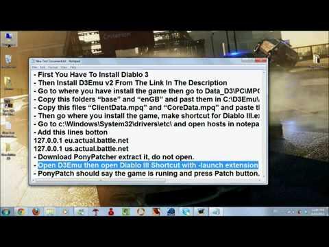 HOW TO DOWNGRADE DIABLO 3 VERSION TO (1.0.2.9991)  With Skidrow Emulator v2+3 .flv