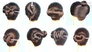 8 new n easy hairstyles using chinese bun stick || bun hairstyles | new hairstyle 2019 | chignon bun