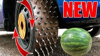 NEW ! SPINING SPIKE TIRE CAR vs WATERMELON - Most satisfying SHREDDING video