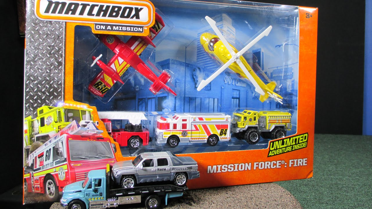 Mission Force Fire With Matchbox Fire Trucks And Sky