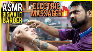 ASMR FACE MASSAGE with ELECTRIC MASSAGER by a QUIET and GENTLE BARBER