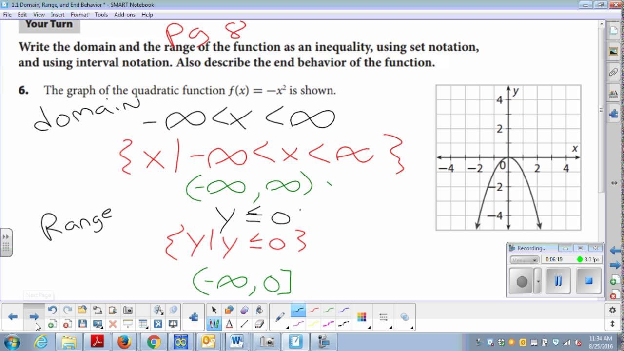 Domain Range And End Behavior Worksheet Lesson 1 1