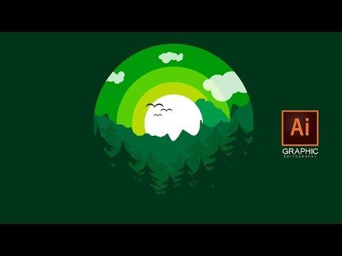Flat nature design artwork in illustrator : Adobe illustrator tutorial