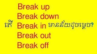 Meaning of phrasal verb Break up Break down Break in Break out Break off by Socheat Thin