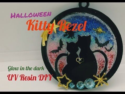 UV Resin DIY Halloween Theme kitty Bezel/Glow in the Dark