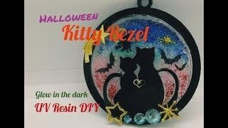 UV Resin DIY Halloween Theme kitty Bezel/Glow in the Dark