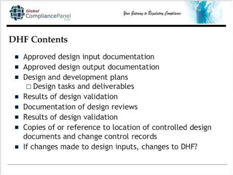 Design History File DHF, Device Master Record DMR, Device History Record DHR and Technical File TF