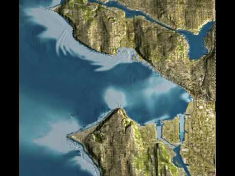 Tsunami Inundation Of Seattle (2007 NOAA Simulation)
