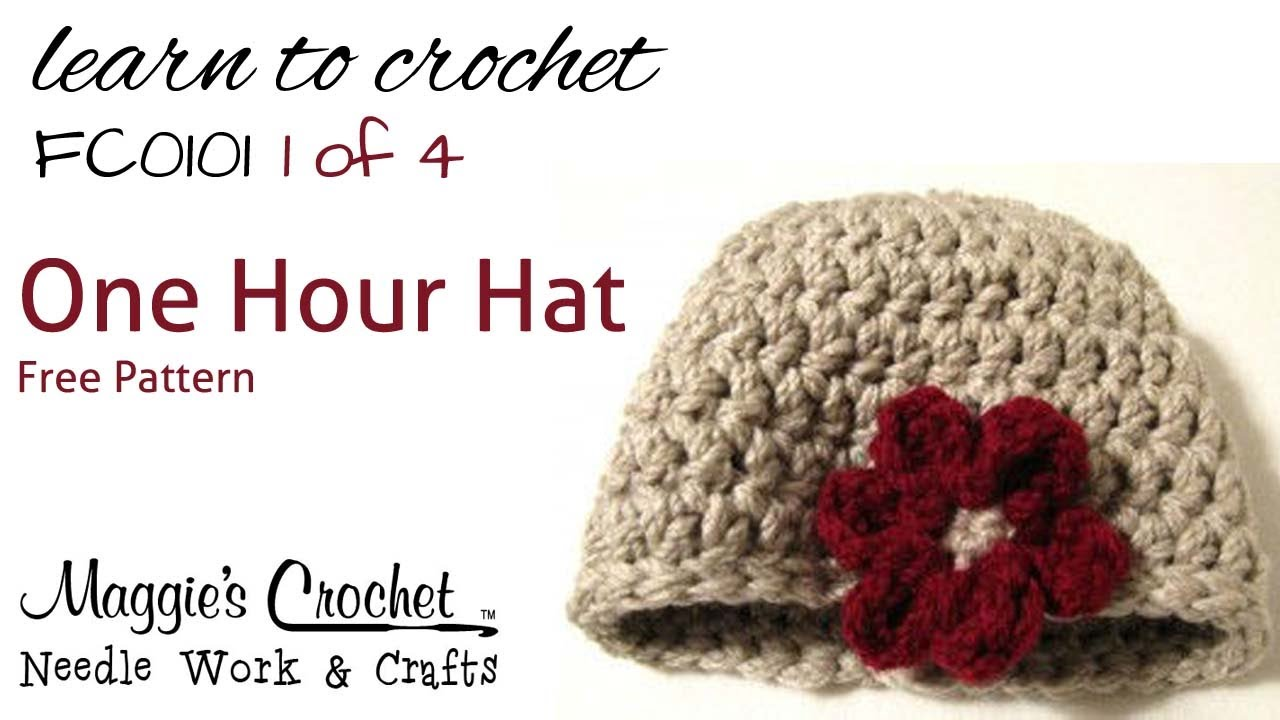 Crochet Flower Hat Pattern Easy How to by Maggie Weldon Part 1 of 4 ... 977b7f72bfd