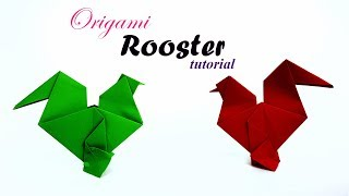 Easy Easter Origami Rooster - Tutorial - How to make an origami rooster / Chicken / hen / Cock - DIY