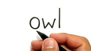 WOW, belajar cara menggambar kata OWL menjadi gambar BURUNG HANTU KEREN