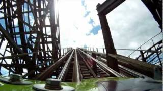 Le Monstre Wooden Roller Coaster POV Front Seat On-Ride La Ronde Montreal Canada 1080p HD