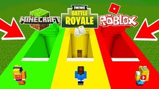DO NOT CHOOSE THE SECRET BASE IN MINECRAFT ! FORTNITE ROBLOX AND MINECRAFT BUNKER