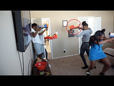 NERF WAR WITH BABY MAMA CREW!!!