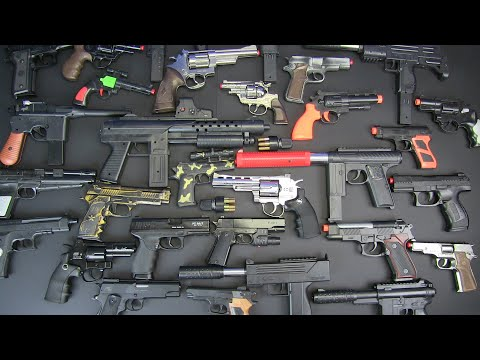 Box Of Toys !!! Realistic Toy Guns-Military Toy Gun _ Beretta,Glock,357 Magnum,Uzi Toys....