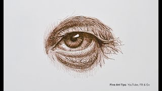 How to Draw an Eye With Pen & Ink (old man) Narrated