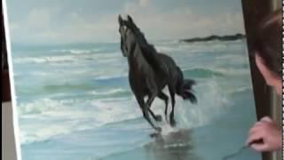 Живопись. painting.Видео и онлайн уроки.Лошадь, волны