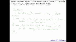 balancing chemical equation example - butanol