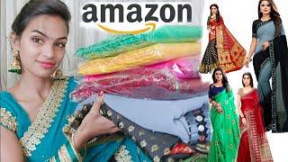 Latest Trendy Designer Saree Haul || Amazon Online Shoping Haul by Priya Deep