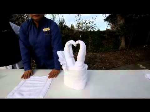 how to make a towel swan basket