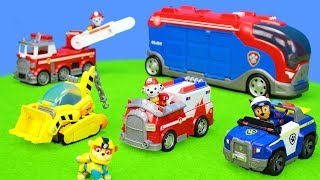 Paw Patrol Toys Unboxing Movie for Kids: Fire Trucks, Police Car, Ambulance & Excavator