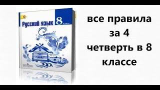 Скачать Все правила русского языка за 4 четверть в 8 классе учебник Т А Ладыженской