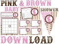 Pink and brown baby shower printable invitation & decorations