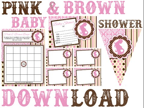 Pink And Brown Baby Shower Printable Invitation Decorations