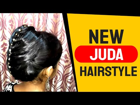new-juda-hairstyle-with-lehenga.-hairstyle-for-medium-hair.-hairstyle-for-wedding.-party-hairstyle.