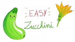 HOW TO DRAW ZUCCHINI (EASY WAY) / COMMENT DESSINER FACILEMENT UNE COURGETTE