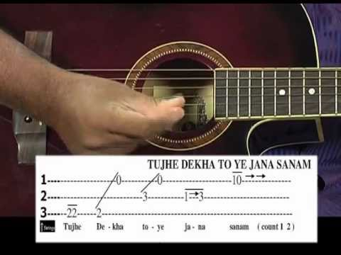 Tutorial for Tujhe dekha to ye jana sanam song on guitar - YouTube