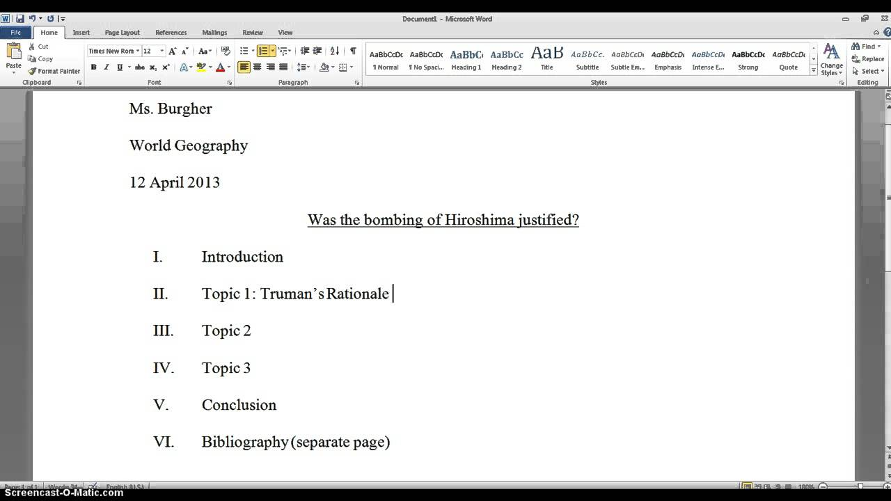 research paper set up