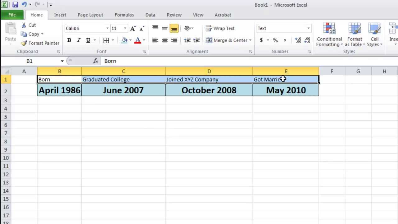 how to make a timeline in microsoft excel youtube