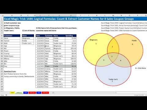 Excel Magic Trick 1444: Logical Formulas: Count & Extract Customer Names for 8 Sales Coupon Groups