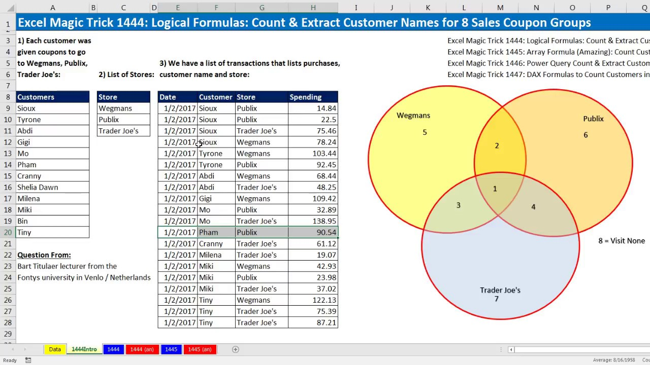 Sector 6 coupons - Excel Magic Trick 1444 Logical Formulas Count Extract Customer Names For 8 Sales Coupon Groups