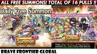 ALL FREE SUMMONS! Total of 16 Pulls Rare Summons! (Brave Frontier Global)