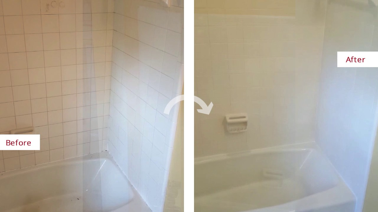 Outstanding Shower Transformation After A Grout Recoloring And Re - Bathtub caulking service