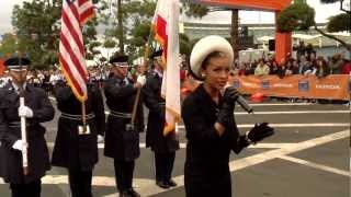 Melody Thornton Sings The National Anthem at LA Marathon