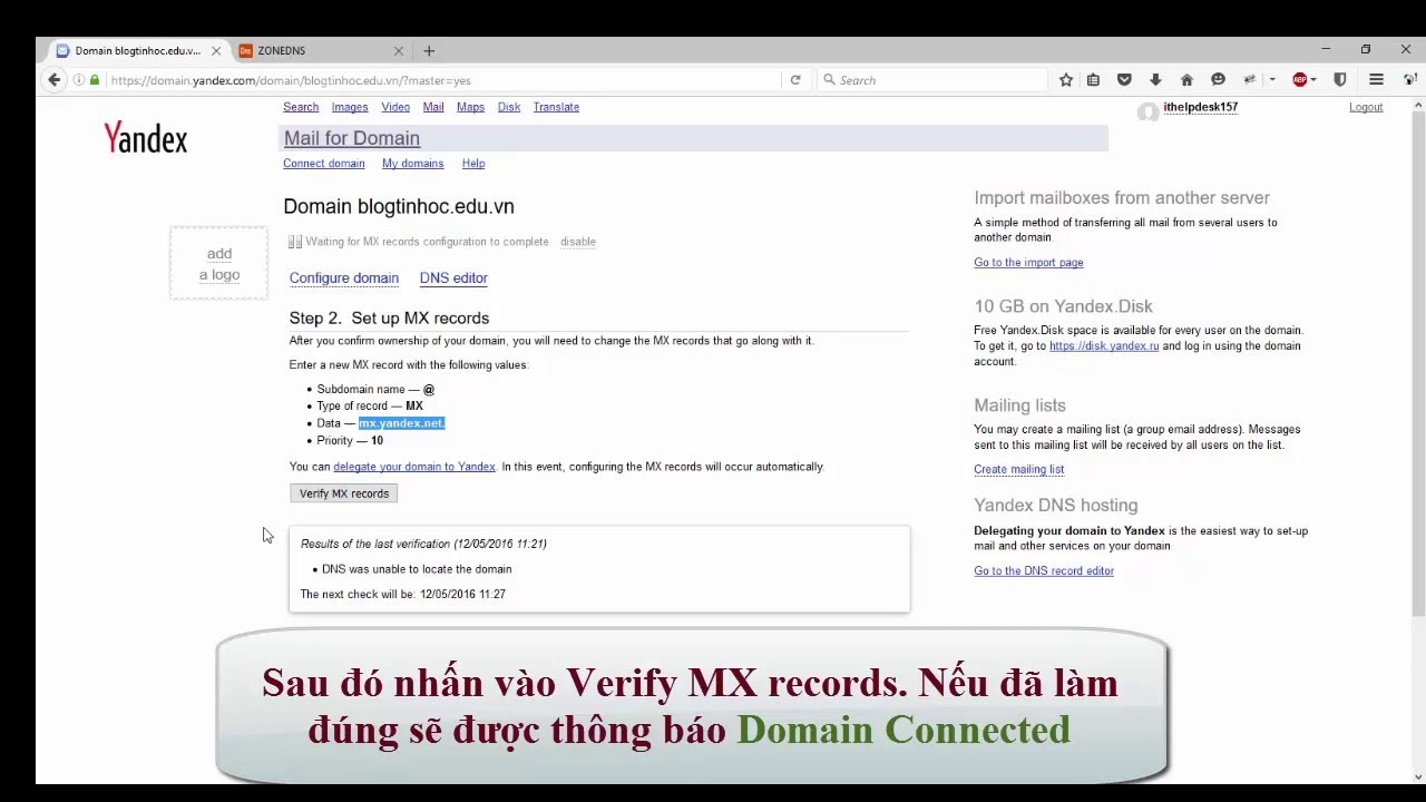 Tạo email domain miễn phí với Yandex