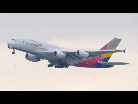 ASIANA Airlines Airbus A380 [HL7626] AWESOME Takeoff from New York JFK [Full HD]
