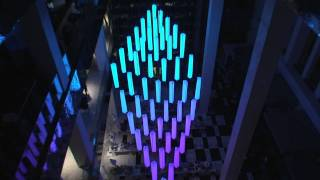 Crystal Chandelier - kinetic light sculpture with DMX winch motorized RGB led lights
