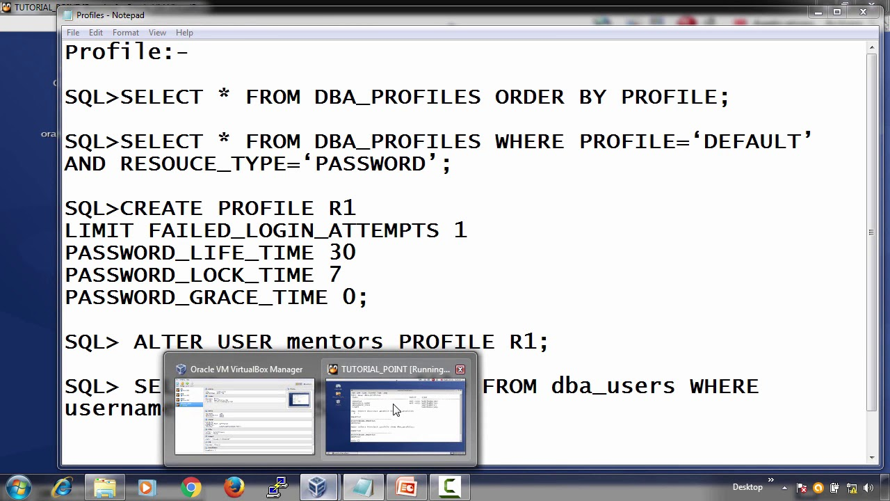 Oracle DB - Profile