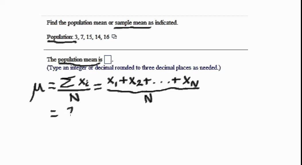 Sample and Population Mean Example - YouTube