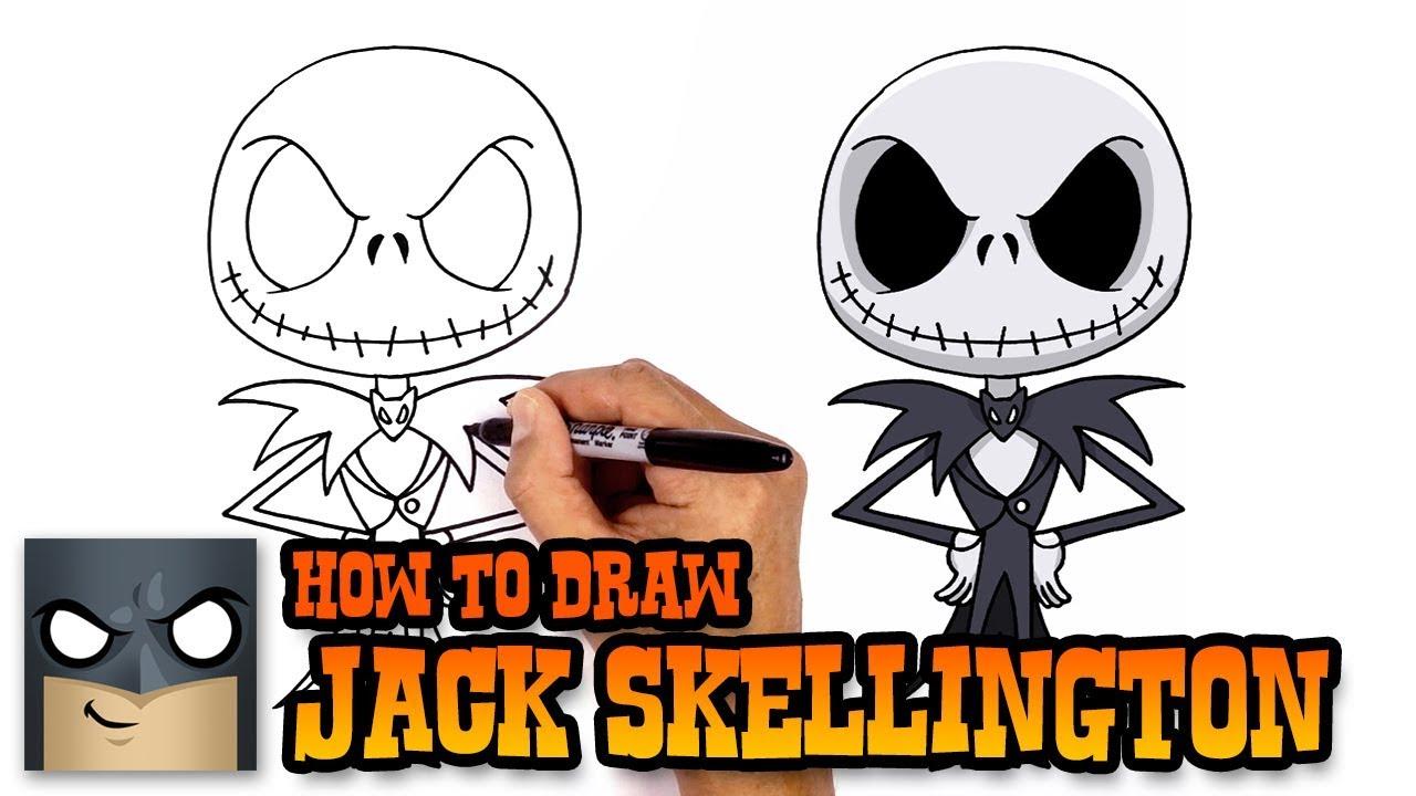 How To Draw Jack Skellington Christmas Tutorial Youtube